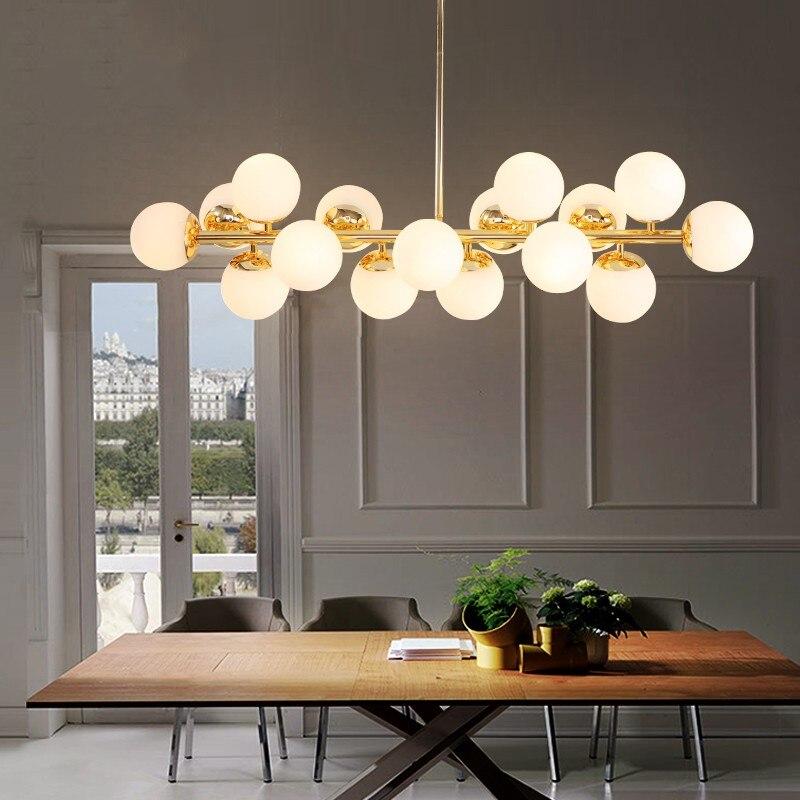 16 têtes Postmodern or Loft pendentif lumière Art créatif magique haricots accrocher lumière salle à manger Bar cuisine lumière LED livraison gratuite