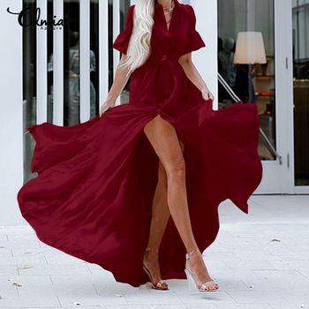 Celmia Bohemian White Ruffled Dress Women Short Sleeve Button Casual Split Sexy Maxi Long Vestidos Swing Party Dress Plus Size 4