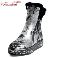 FACNDINLL kobiety shearling zima śnieg genuine leather boots low heel platforma złoto srebro botki buty kobieta plush rozmiar 42