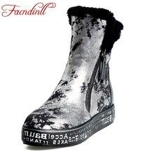 FACNDINLL mujeres botas de nieve de invierno de piel de oveja de cuero genuino de tacón bajo plataforma oro plata tobillo patea los zapatos mujer de la felpa tamaño 42