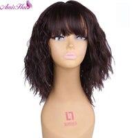アミール髪オンブル茶色14インチ変態ストレートかつらで前髪ショートウィッグ用黒と白フルかつら熱耐