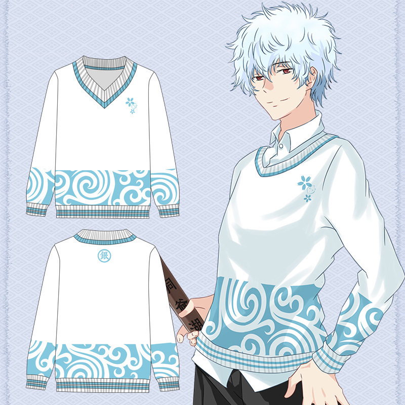 [Stock] Anime Silver Soul V Neck GINTAMA Winter Sweater Cosplay Pullover Knitted Cloth Shirt Unisex Halloween Carnival Free ship