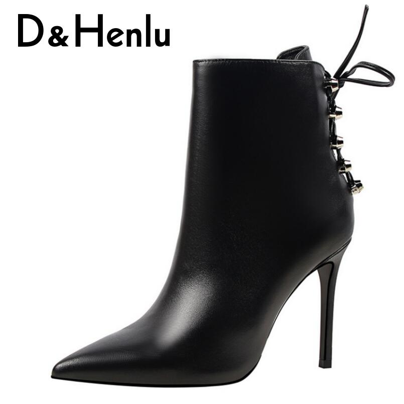 {D&Henlu} 2018 Lace-up Boots Womens Shoes High Heel Short Boots Autumn Boot Female Pointed Toe Thin Heel Ankle Boot Sexy Rivets