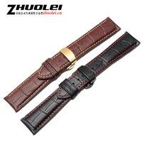 18 19 20 21 22 Nouveau Top Qualité Noir Véritable en cuir Bracelet Alligator Motif Bracelet 4 sortes couleur Déploiement boucle