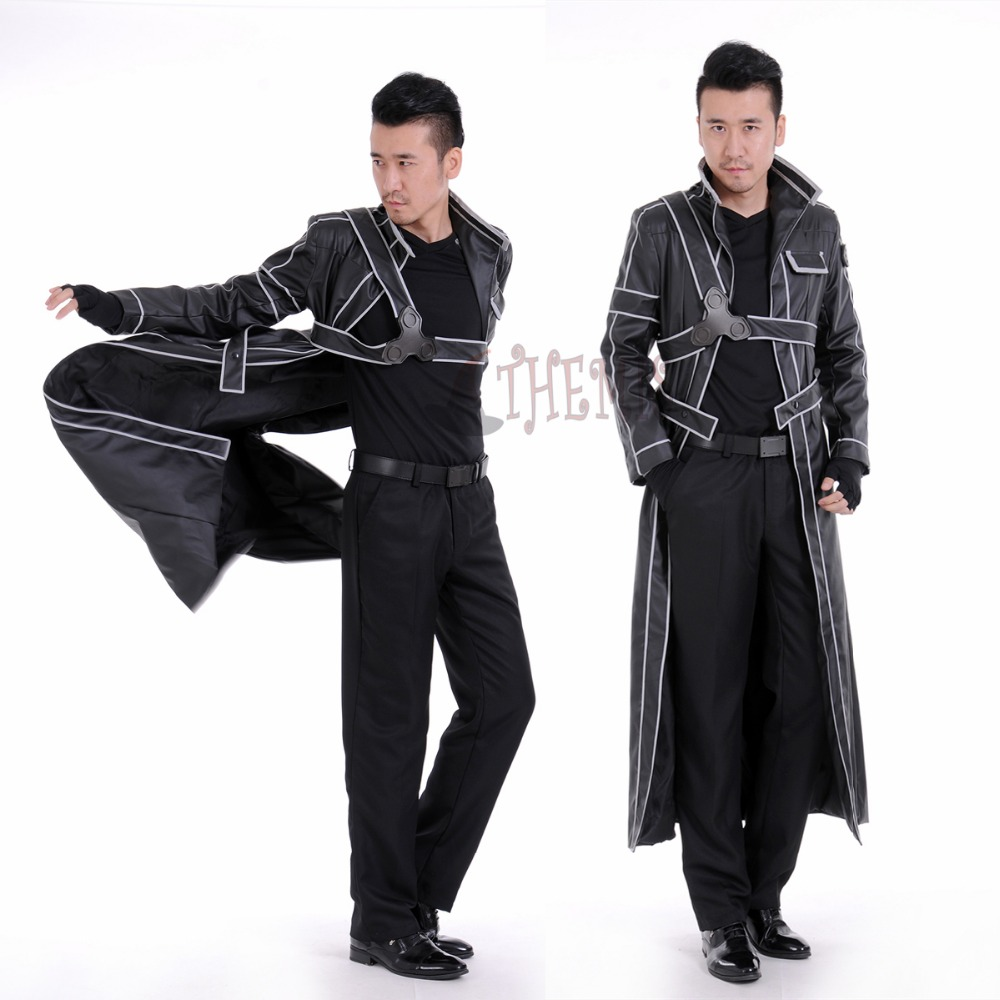 Athemis Sword Art Online Kirito leather Cosplay Costume custom made jacket or accessories