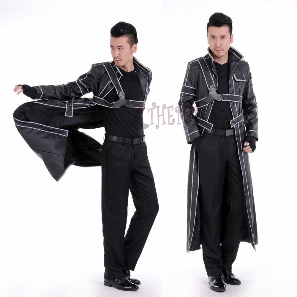 Athemis Sword Art Online Kirito Leather Cosplay Costume Custom Made Jacket Or Accessories