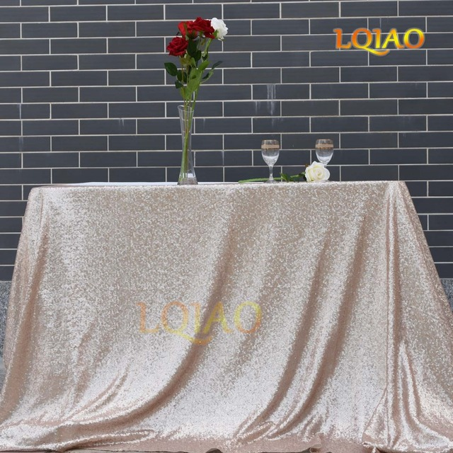 Hot 90x132inch-225x330cm Champagne Embroidery Lace Sequin Tablecloth Rectangle Gold Table Cloths for Wedding Party Table Decor