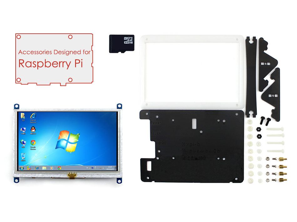 Raspberry Pi Acc Pack (type E) with 5inch HDMI LCD (B),Bicolor case,16GB Micro SD card Support mini PC & Various Systems