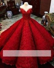 Czerwone bufiaste tanie suknie typu quinceanera suknia Sweetheart aplikacje koronkowe zroszony słodkie 16 sukienki