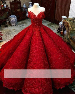 Image 1 - Red Puffy Cheap Quinceanera Dresses Ball Gown Sweetheart Appliques Lace Beaded Sweet 16 Dresses