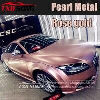 5x59FT (1,52*18 метров) Премиум розовое золото атласная металлическая автомобильная пленка виниловая, хромированная виниловая пленка без пузырьк