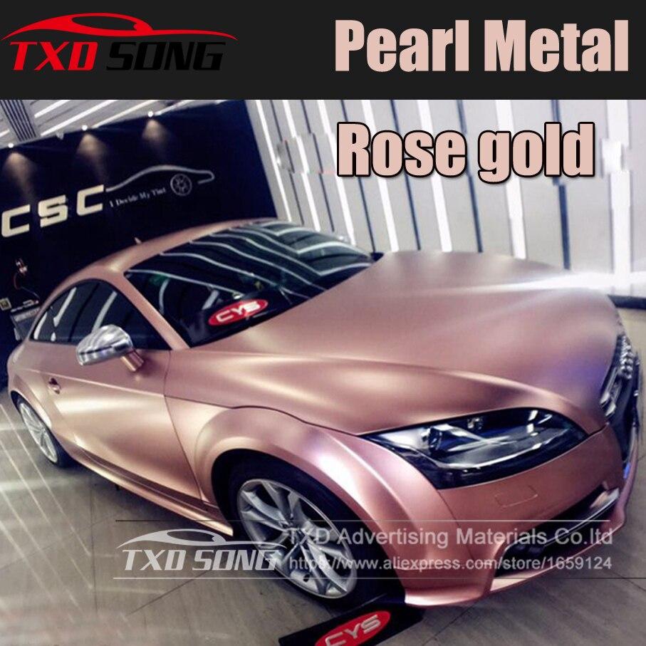 5x59FT (1.52*18 mètres) Premium Or Rose Satiné Métallisé emballage de voiture en Vinyl Chrome Vinyle Sans Bulle perle en métal chromé or rose film