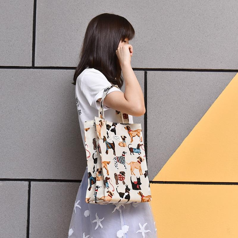 2018 sac à main coton sac à provisions femmes point organisateur de mode éco sac pour étudiant poche sacs impression chien motif dropshipping