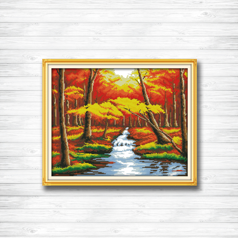 The forest river Autumn scenery dmc 14CT11CT counted cross stitch Needlework Set Embroidery kits chinese cross stitch Home decor