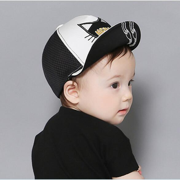 6ff20cd50c7 Children summer hat 2016 spring 6 months-2 year old baby boy girls baseball  caps Cartoon cat whiskers tongue mesh cap hats