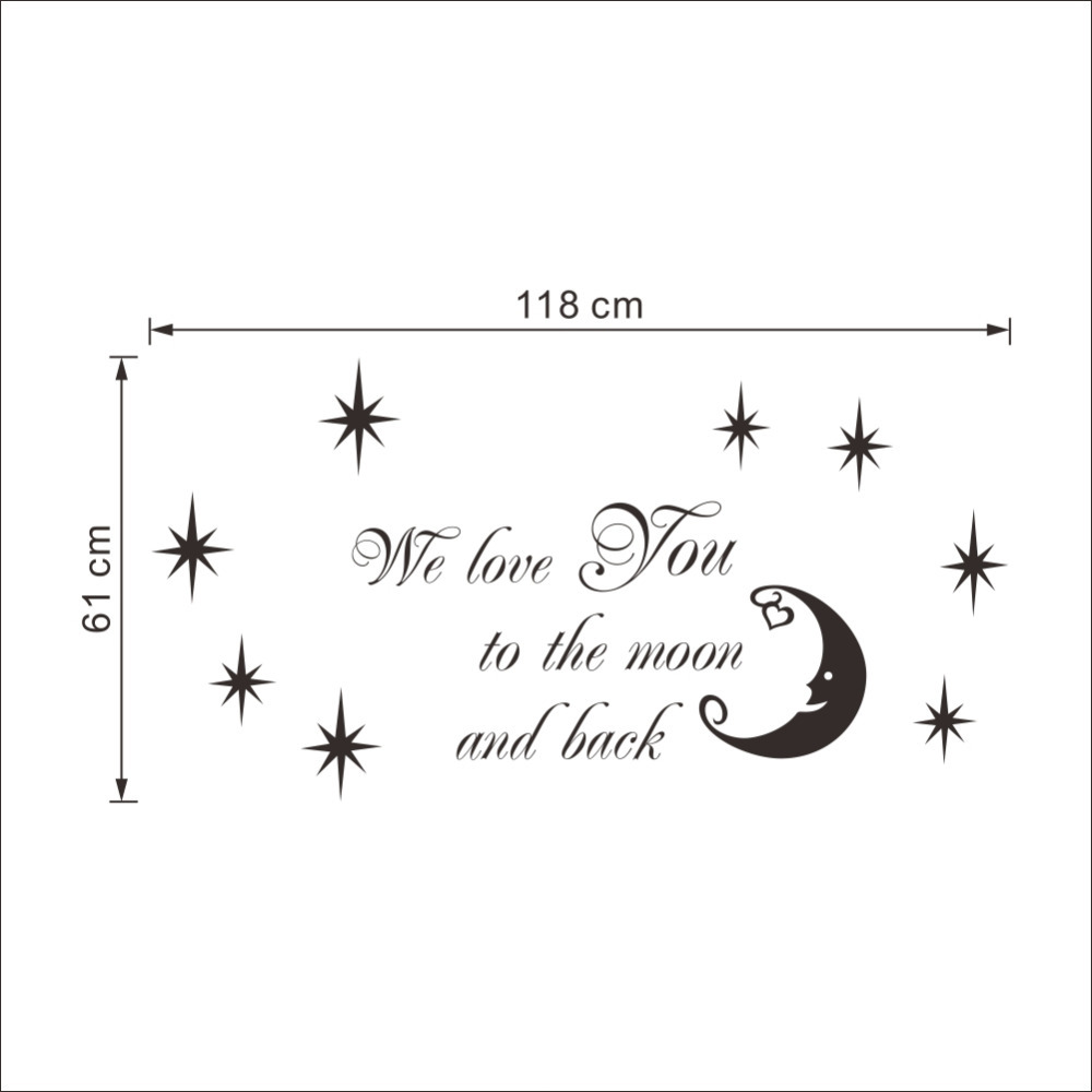 Quote I Love You To The Moon And Back We Love You To The Moon And Back Star Quotes Vinyl Stickers For