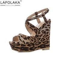 LAPOLAKA 2018 Large Size 34 41 Wedge High Heels Women Pumps Buckle Strap Leopard Print Platform Shoes Wrapped Woman Pumps