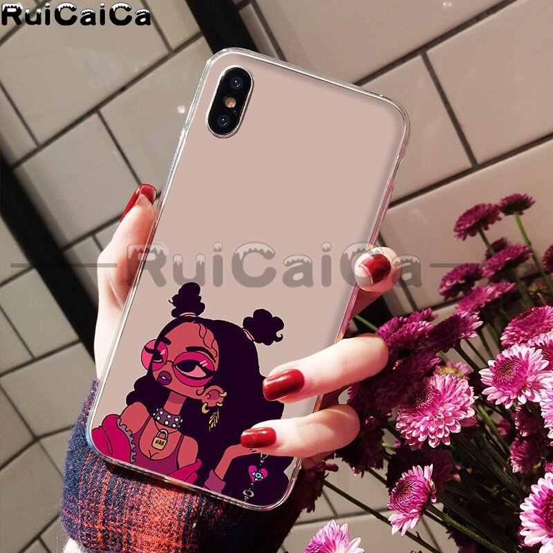 RuiCaiCa เมลานินสติกเกอร์ Poppin Aba Queen สีดำสาวโทรศัพท์กรณีสำหรับ iPhone X XS MAX 6 6s 7 7plus 8 8Plus 5 5S SE XR
