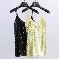 Performance Women Sexy Sequined Bling Vest Tank Top Summer Glitter Sleeveless Undershirt Women LP54