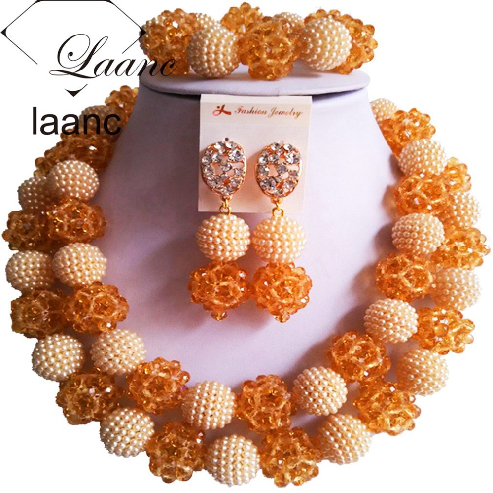 Brand Laanc Indian Bridal Crystal Jewelry Set Nigerian African Wedding Beads Gold and Ivory Beige Dubai AL179Brand Laanc Indian Bridal Crystal Jewelry Set Nigerian African Wedding Beads Gold and Ivory Beige Dubai AL179