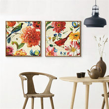 HAOCHU American Pastoral Decorative Painting Canvas Print Art Poster Flowers Birds Colorful Warm Home Living Room Bedroom Hotel