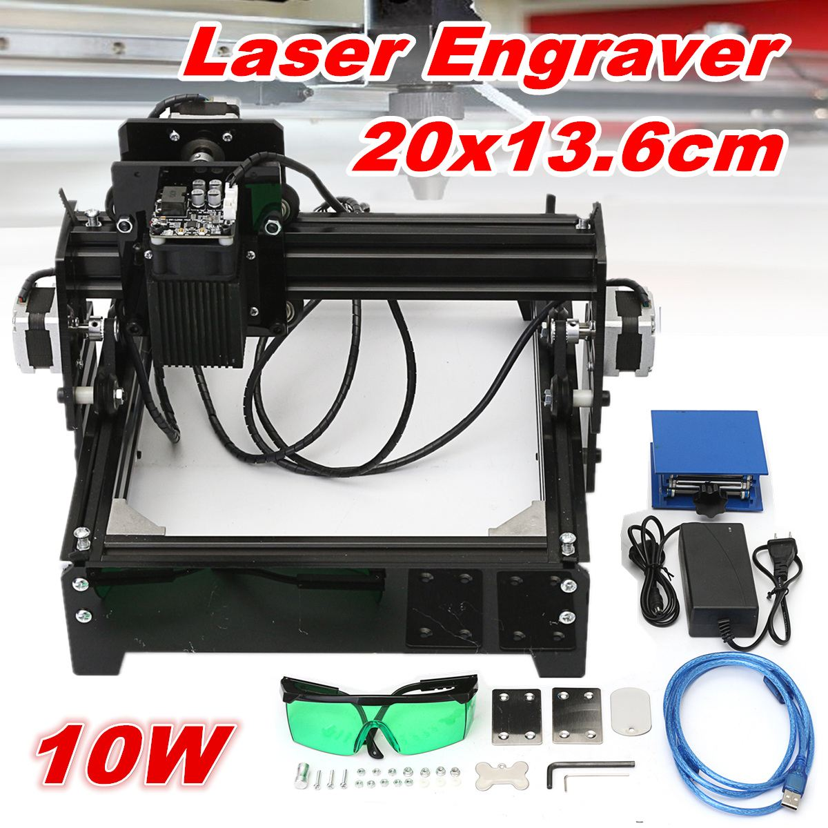 10W USB Desktop Metal Stone Wood CNC Laser Engraver Marking Engraving Machine Engraving Area 20 x 14 cm + Protective Glasses 10w 15w diy cnc laser marking machine work area 14 20cm for stainless steel wood aluminum etc metal material