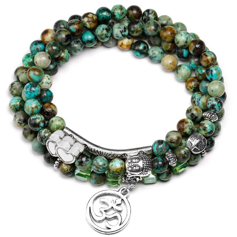 6mm African Turquoise Beads Handmade Mala Baracelet Prayer Classic Buddhism