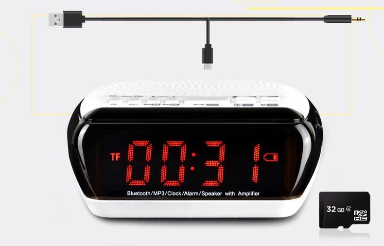 Mini Portable Dual Alarm Clock Bluetooth Stereo Speaker LCD Digital FM Radio Bluetooth Wireless Speaker Support TF For Computer (5)