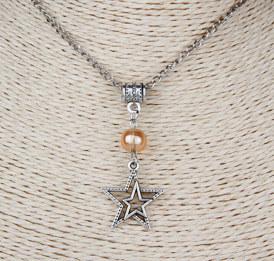 Hot 10PCS Zinc Alloy Plating Silver Double Star Multi Bead Charm Pendant Popular Necklace Jewelry Accessories DIY For Women H990 in Pendant Necklaces from Jewelry Accessories