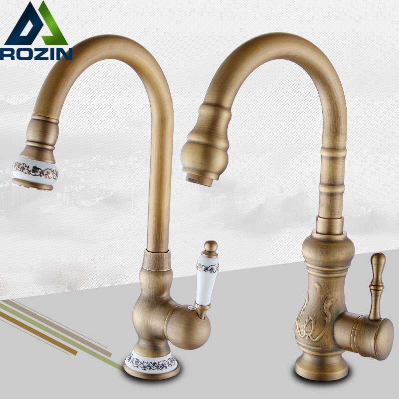 Brass Antique Deck Mount Kitchen Sink Mixer Taps Single Lever Swivel Rotation Kitchen Faucet swanstone dual mount composite 33x22x10 1 hole single bowl kitchen sink in tahiti ivory tahiti ivory