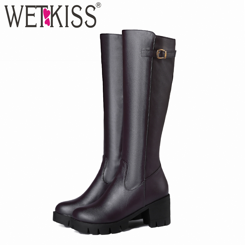 WETKISS High Heels Women Boots Round Toe Zip Footwear Pu Warm Female Boot Knee High Platform Shoes Women 2018 Winter Black New wetkiss knee high women boots zip round toe rivet footwear platform fur female boot party high heels shoes women 2018 new black