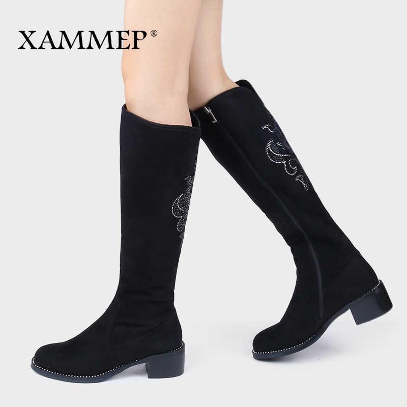Nữ Mùa Đông Giày Đầu Gối Giày Cao Plus Size Lớn Cao cấp Giả Da Lộn Thương Hiệu Nữ Giày Nữ Len Nữ Mùa Đông giày