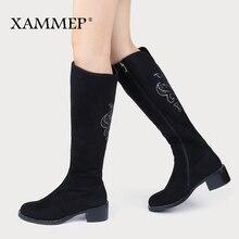 Scarpe invernali da donna stivali alti al ginocchio più grandi dimensioni scarpe da donna in pelle scamosciata sintetica di alta qualità stivali invernali da donna in lana