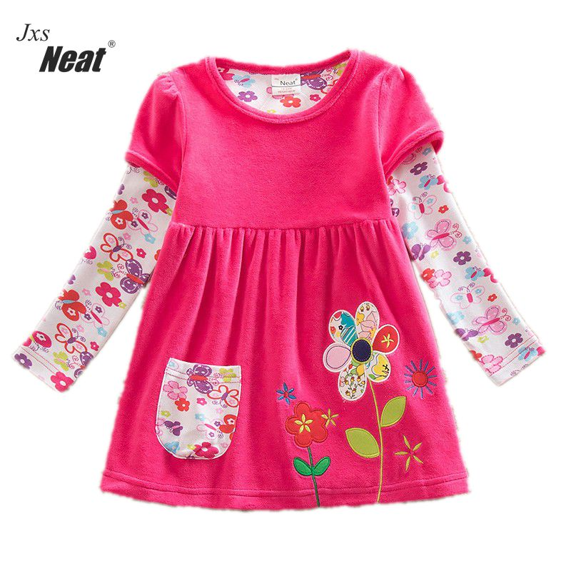 retail baby girl clothes long sleeve girls dress flowers kids clothing princess dresses A-line children clothing LD6660# girl dress kids clothes 2016 wl original lemon flower print a line baby girl dress children cotton princess dress girls costumes