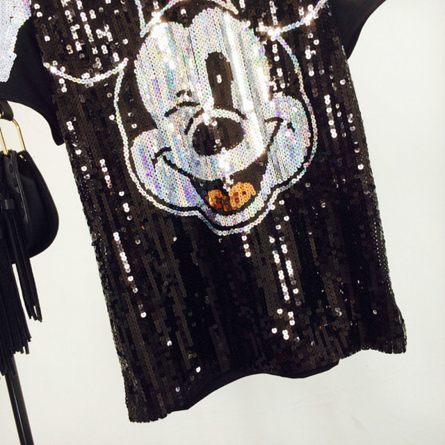 Chic Woman Cartoon Mickey sequins loose Oversized Long T-shirt Hiphop Numbers Short sleeved splicing Sequined Tops Streetwear 3