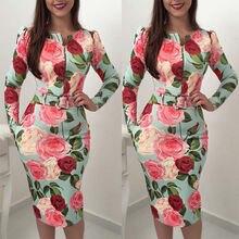 Hirigin Brand Sexy Dress 2019 Womens Bandage Bodycon Long Sleeve Floral Print Evening Party Club Midi Vestidos