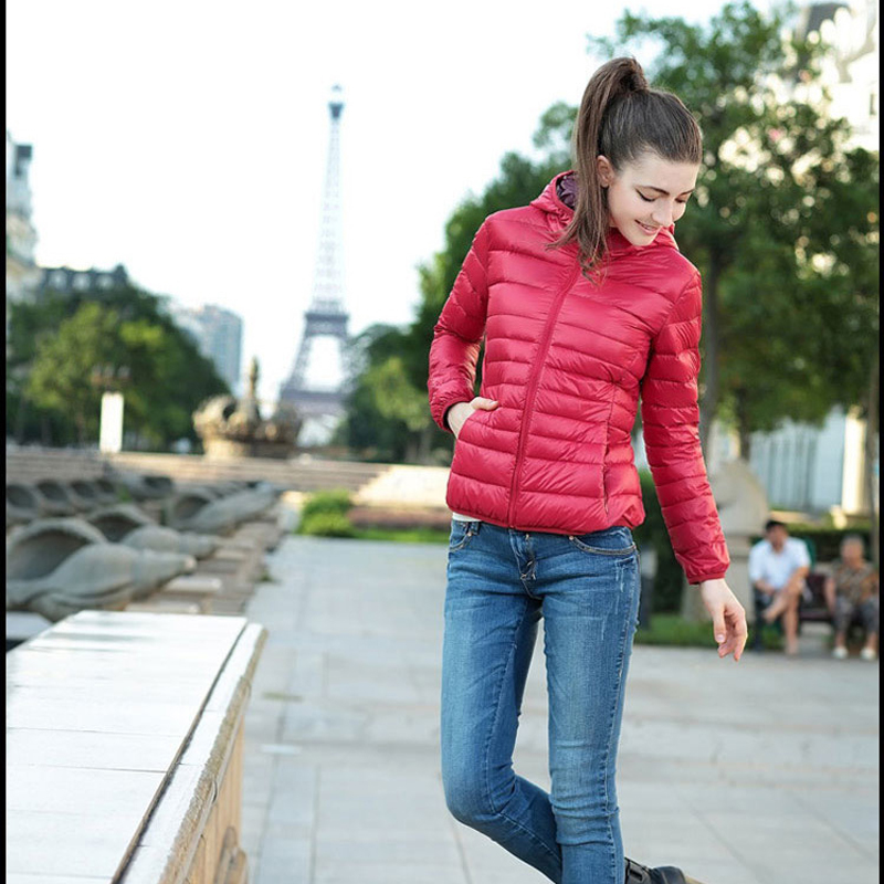 Fashion Autumn And Winter Solid Color Hooded Outwear Slim Short Thin Cotton Padded Parka Women Coat