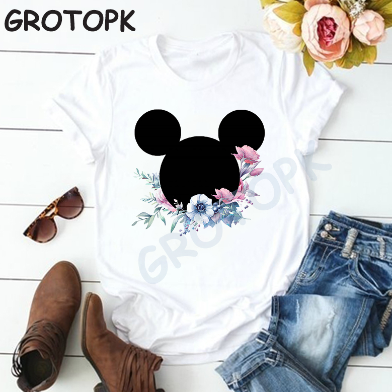 Vintage Flower Mickey Head Print Harajuku Black T Shirt Women Cotton Summer T-shirt For Women Short Sleeve Cartoon Tshirts Tops
