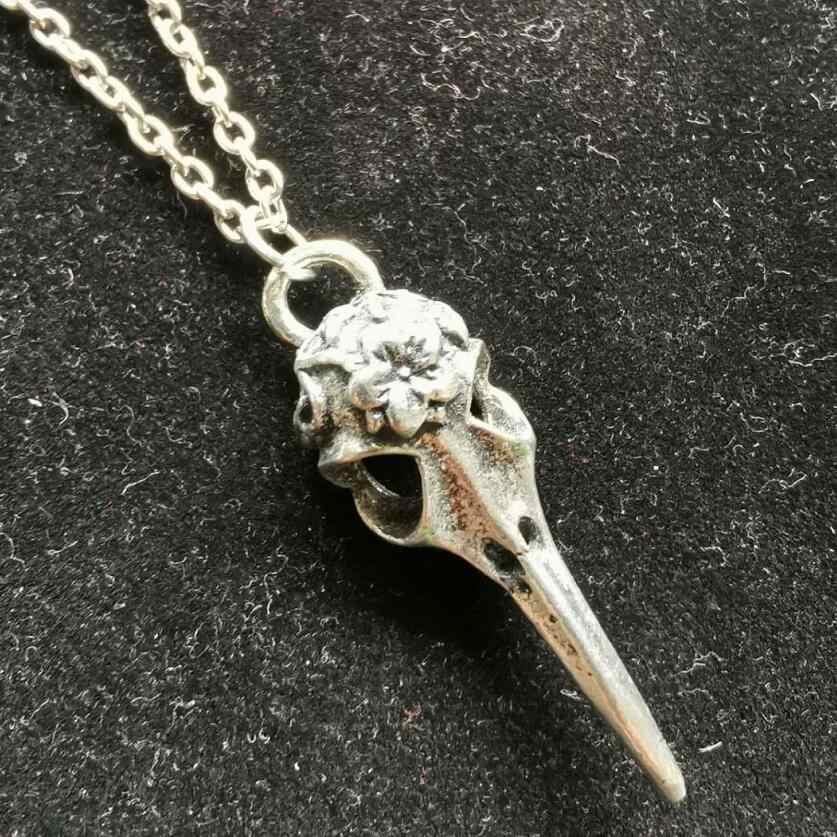 Gothic Crow kruk ptak czaszka naszyjniki projekt naszyjnik dla kobiet mężczyzn Charms Wiccan Pagan wisiorek Choker Collier Bijoux biżuteria