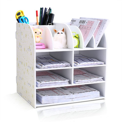 где купить Office Desk Organizer Wooden Document File Cabinet Desk Set Large Desk Storage Shelf For Office дешево