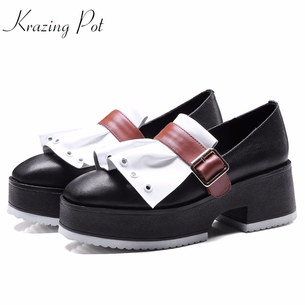 KRAZING POT natural leather wedges high heels slip on buckle gladiator women pumps round toe mixed color superstar shoes L5f1 nayiduyun women genuine leather wedge high heel pumps platform creepers round toe slip on casual shoes boots wedge sneakers