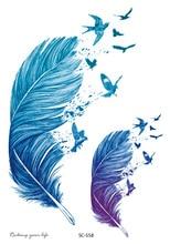 Rocooart חצים צבעוניים פלאש נוצות נוצות קעקוע מזויף נשים Tatuagem גדול טטו קעקועים זמני קעקועים זמני לגברים