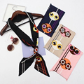Luna&Dolphin Famous Letter Skinny Silk Scarf Little Monster Women Small Satin Twilly Hair Band Bag Handle Decoration  Headwear