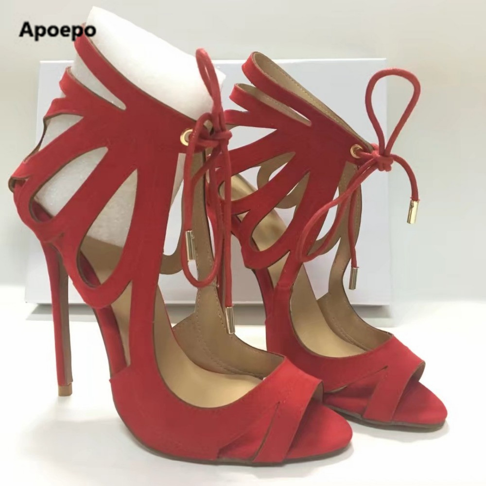 Apoepo red shoes summer fashion high heels sandals women cut-outs sandals boots lace-up sandalias mujer shallow schoenen vrouw apoepo women high heels sandals sliver gold black ladies shoes summer rivet cut outs females shoes buckle strap bridal shoes