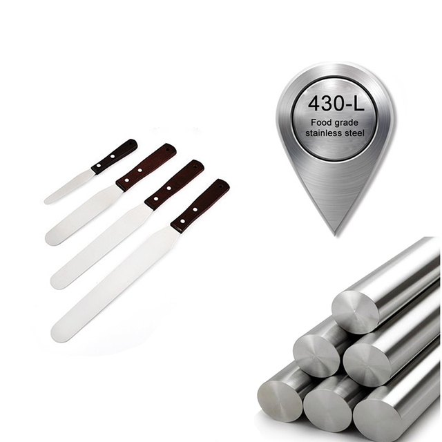 FEBWIND Metal Offset Cake Spatula bakery 4 6 8 10 Inches Stainless Steel Baking Espatula Cake Decorating Tools  022 6