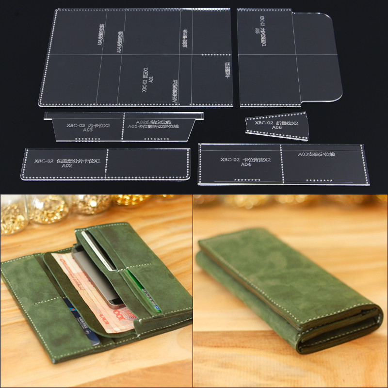 1 Set DIY Long Wallet Acrylic Template Leather Stencil Pattern DIY Leather Craft Tools Cutting Model 20cm*9cm*2cm wallet
