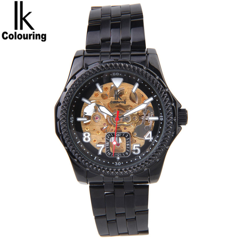 2017 IK Colouring Fashion Relogio Masculino Skeleton Auto Mechanical Watch Wristwatch Gift Free Ship ik colouring men s orologio uomo allochroic glass skeleton auto mechanical watch wristwatches gift box free ship