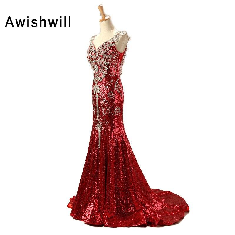 Personnalisé De Luxe Rouge Long Robe De Paillettes Robe De Soirée - Habillez-vous pour des occasions spéciales - Photo 3