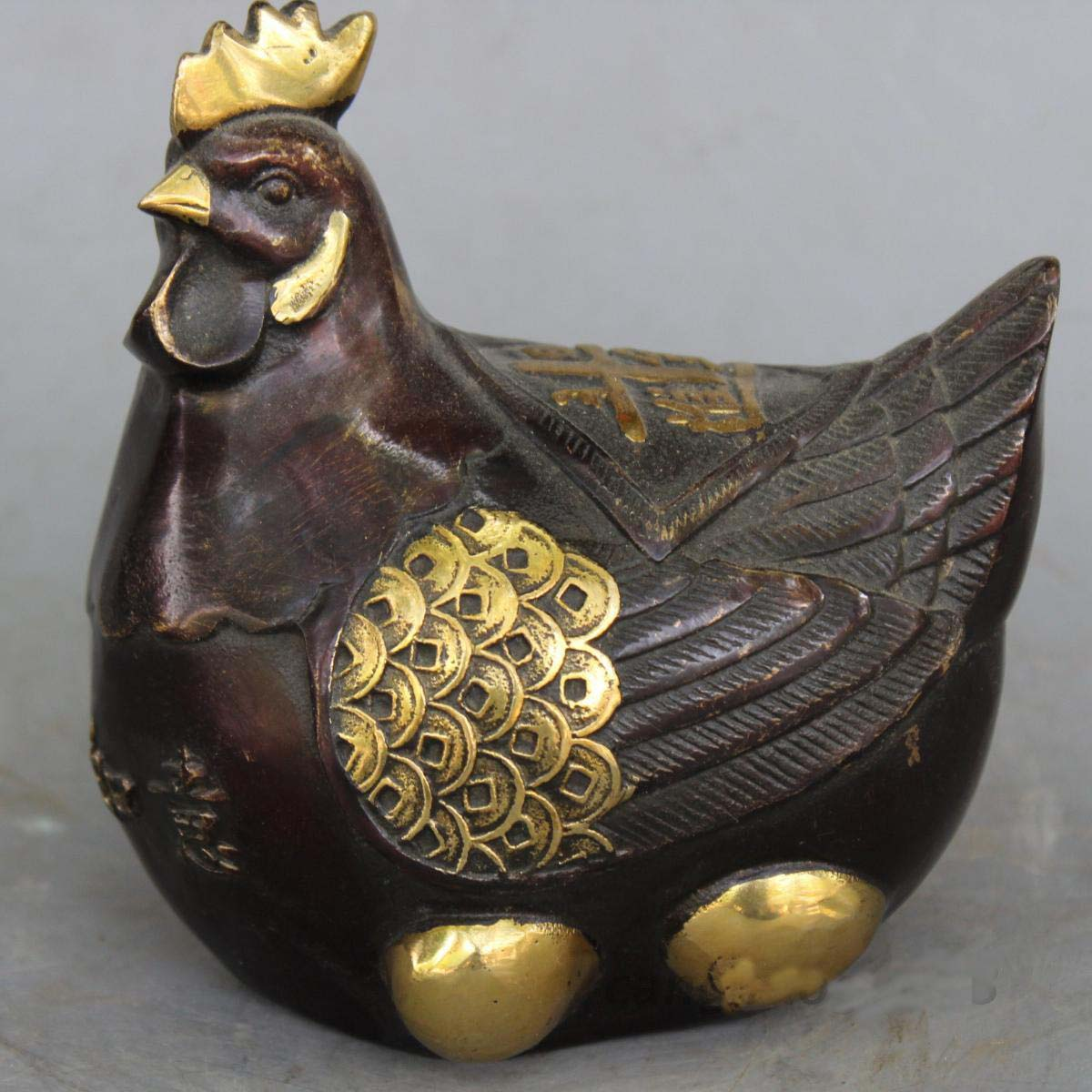 5 Chinese Red coppe Gilt Fengshui Biddy Hen Rooster Cock incubate Egg Sculpture