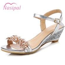 Nasipal Summer Rhinestone Bohemia Sandals Large Size 42 43 Rome Wedge  Buckle Strap Open Toe Women 296d1a32fc63